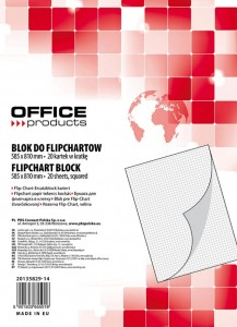 Blok do flipchartów OFFICE PRODUCTS, kratka, 58,5x81cm, 20 kart., biały