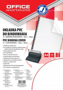 Okładki do bindowania OFFICE PRODUCTS, PVC, A4, 200mikr., 100szt., transparentne